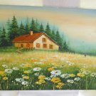 Original Landscape Mountain Painting Pastoral Daisies Balloons Modernist Graham