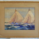 Antique Painting John Ward Yacht Race Sail Boat Art Deco Marine 1941 Watercolor