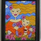 Modernist Original Painting Stylized Little Girls Glitter Overlay Deborah Carrie