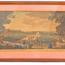 Antique Print Etching Water Fall Casquade Seaux France Hand Colored J Rigaud CPR