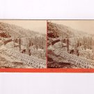 Stereoview Watkins #213 CPRR Snow Covering below Cisco Pacific Railroad