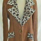 Trophy Jacket Leopard Lapel Rigoberto San Juan Blazer Contrast Bombshell 10 NOS