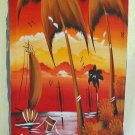 Vibrant Haitian Oil Painting Marine Sunset Vili Vixi Vtg Oil on Stretched Cloth