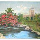 Painting Antique Plein Tropical Decor Florida Keys Hard Hat Diving Fort Panel