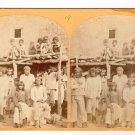 Stereoview Wheeler Expedition 1873 #19 O'Sullivan Zuni Indian Braves Pueblo NM