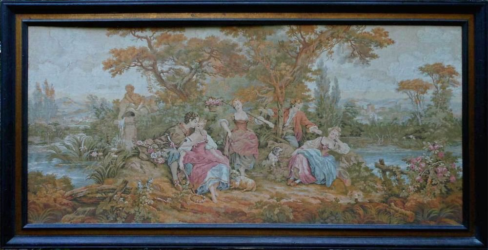 Antique Tapestry French Regency Romantic Cherub Monumental Rococo Figural Frame