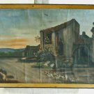 Religious Antique Original Oil Painting REMINETTI Italy Church Landscape Priest