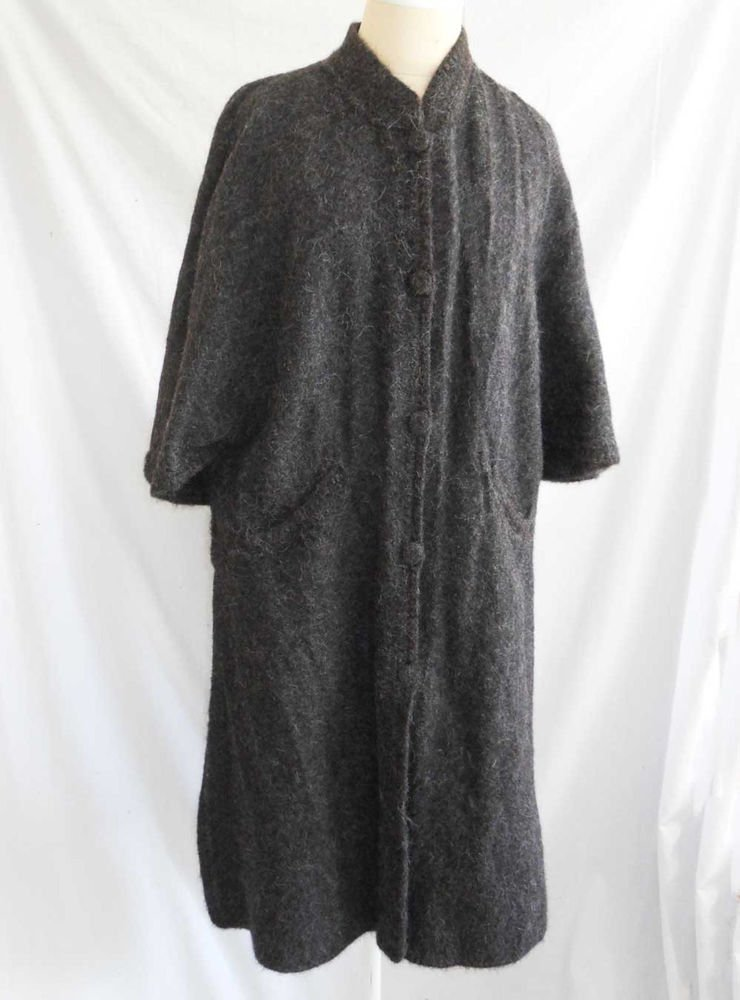 100% Alpaca Coat Cape Envoga Maxi Gray Deadstock Winter Hand Made Peru Couture