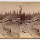 Stereoview Hart CPRR California 68 Alta from North 69 mile Locomotive Depot Town