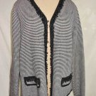 Exclusively Misook Nos Knit Blazer Jacket Sweater Cardigan Fringe Trophy Stripe