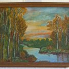 Antique Original Oil Painting on Wood Board 1947 Alice Daniel Mills Fall Foliage