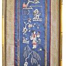 Antique Japanese Needlework Geisha Lantern Trees Flowers Gilded Frame Panel