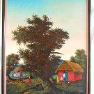 Original Eddy Jean Haitian Massive Modernist Impressionist Village Painting