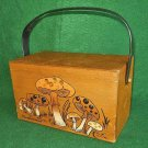 Enid Collins Bag Vintage 60s Large Wood Box Mushrooms Handbag Purse Rat Pack