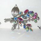 Vintage VENDOME Jewlery Parure Pin Brooch Earrings 3 Piece Set Color Stone Leave