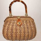 Wicker Frame Top Lucite Handle Hand Bag SIMON Vintage 60s NOS Leather Details