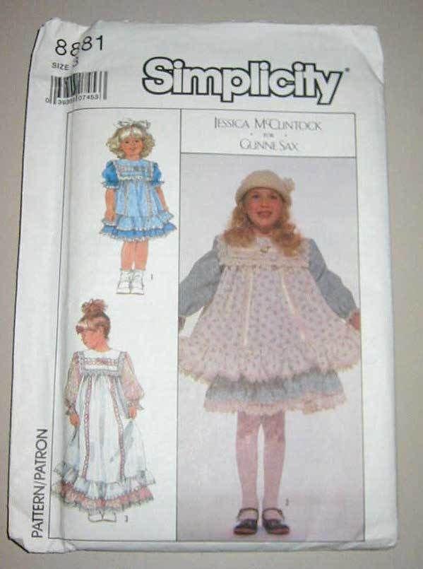 Gunne Sax McClintock Child Dress Pinafore 8881 Pattern 3 Uncut Vintage 2 Length