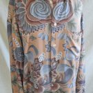 Flower Disco Shirt Vintage 70s Byblos Pink Gray Print NOS Flowers Long Collar