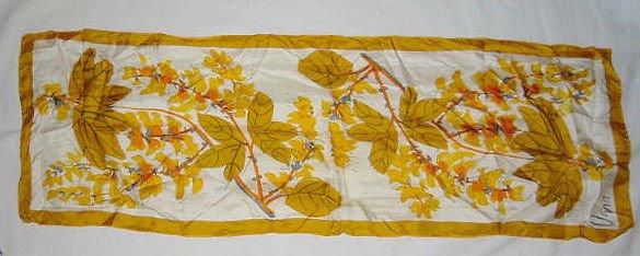 Skinny Scarf  Vera Modernist NOS Vintage 70s  Gold Orange Flower Leaf Foliage