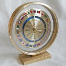 Vintage Modernist BULOVA WORLD Desk CLOCK FLAGS GOLD Airplane Hand Sorcerer