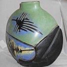 Vintage Incised Green Black Blue Vase Ramirez Mythical Figures Western Oblong