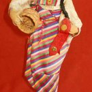 Korea Costume Doll Wearing Han Bok Dress Vintage Huge Basket Pretty Face Decor