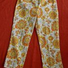 Sisley Cropped Pants Capri 46  NOS Sunflowers Wide Leg Cotton Print Long Shorts
