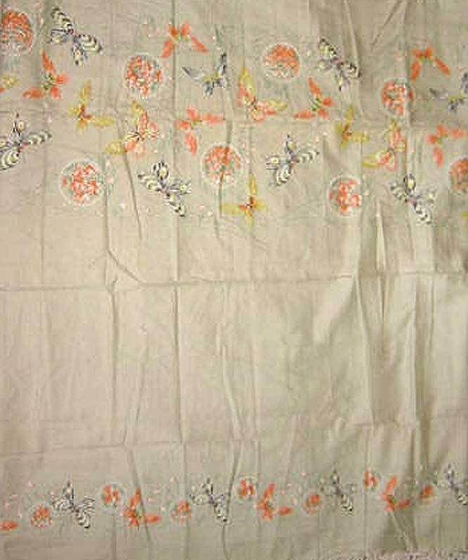 Vintage 60s Prentiss Lane Butterflies Fabric Yardage Boudoir Feminine Butterfly