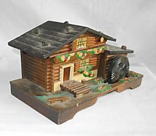 Vintage Music Jewelry Box Black Forest Log Chalet Water Mill Painted Carved
