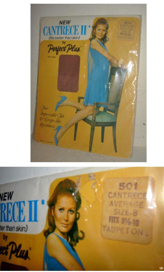 New in Package NIP Vintage 60 Cantrece Stockings B 100% Nylon by Dupont Taupeton