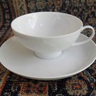 Rosenthal China Lotus White Germany Teacup Tea Saucer Cup Set Dish Leaves Leaf