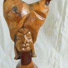 Carving FOLK ART Vintage Fetish Freak Sculpture Chicken Two Head Man N A