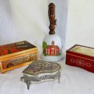 Collection Vintage Decor 4 Music Box Bell Filagree Piano Box Ceramic Wood Metal