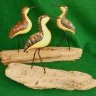 Ornithology Vintage Sandpiper 3 Birds Painted Wood Carving Sculpture Marine