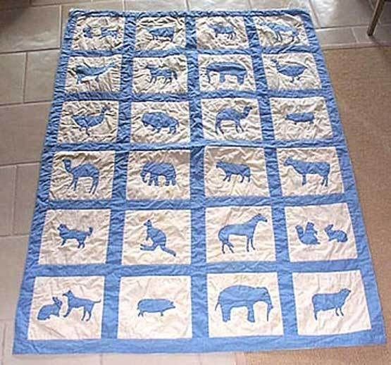 Vintage Quilt Appliqued Animal Child Blue White Elephant Kangaroo Bison Cat Zoo