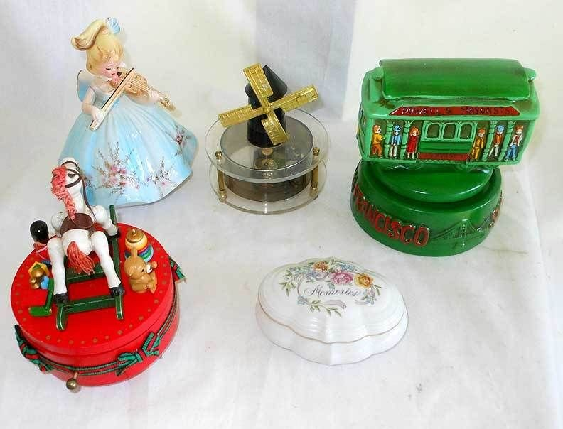 Vintage Collection 5 Music Box Trolley SF Violin Windmill Pottery Japan DECOR