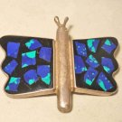 Vintage Modernist Sterling Silver Enamel Mexico 925 Pin Butterfly Large Blue