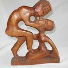 Erotic Vintage African Wood Carving  Kissing Nude Couple Man Woman Lovers 11""