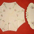 Antique Pair Delicate Set Embroidered Table Linen Oval & Octogon Blue Lavender