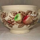 Harvest Time Johnson Bros Sugar Bowl Scalloped Brown Fruit Leaf Vintage England