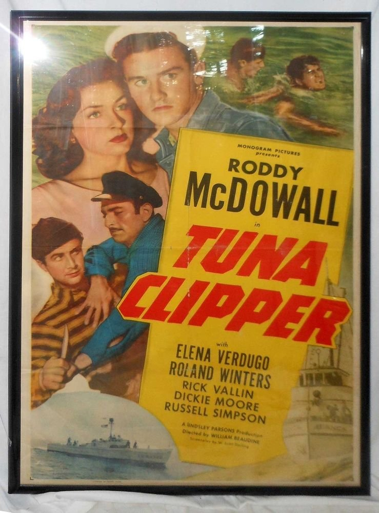 Vintage Scuba Dive 1949 Tuna Clipper Framed Movie Poster Marine Seafaring Huge