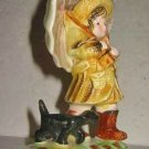 Dog Pottery Child Umbrella Spaniel Ceramic Figure Vintage Antique Rain Figurine