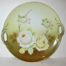 Antique OG Germany Hand Painted Charger Plate Dish Roses Pierced Handles