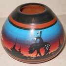 Navajo Native American Painted Clay Pot Indian Elsie Scenic Horse Decor Western