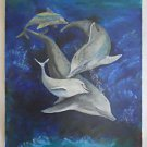 Vintage Folk Naive Original Painting Dolphins Pod Playing in Ocean Blues Regan