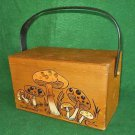 Enid Collins Bag Vintage 60s Wood Box Mushrooms Handbag Purse Big Top Handle