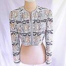 Vintage 80s Deadstock Overall Sequin Bolero Jacket Cropped Beads Bridal Matador