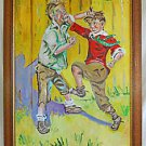 Folk Art Vintage Painting Little Boys Street Fighting Punching Kicking Dunst Big