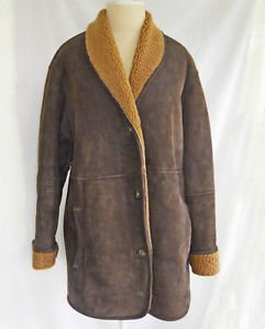 LL Bean Suede Leather Shearling Long  Jacket Coat M Deadstock NOS New Old Stock