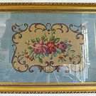 Antique Needlepoint Rose Medallion Scrolls  Blue Pink Red Carved Gilded Frame